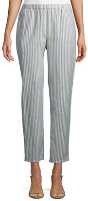 Eileen Fisher Striped Hemp-Blend Relaxed-Leg Ankle Pants, Plus Size