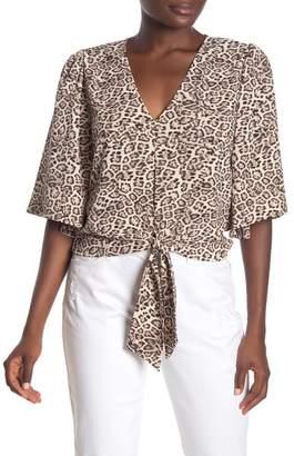 1 STATE 1.State Flounce Sleeve Tie Hem Leopard Print Blouse