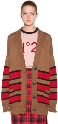 N°21 Oversize Stripe Cotton Intarsia Cardigan