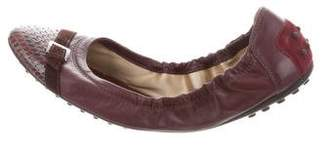 Tod's Leather Python-Trimmed Flats