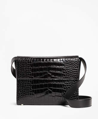 Brooks Brothers Crocodile-Embossed Leather Shoulder Bag