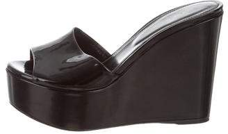 Sergio Rossi Patent Leather Platform Wedges