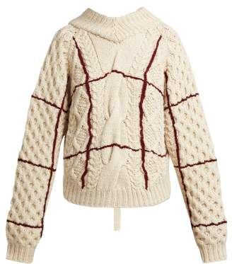 Toga Open Back Cable Knit Sweater - Womens - Cream