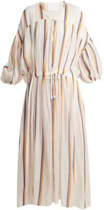 LOVE BINETTI Dropped shoulder striped cotton dress