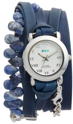 La Mer Stone & Leather Wrap Strap Watch, 22mm