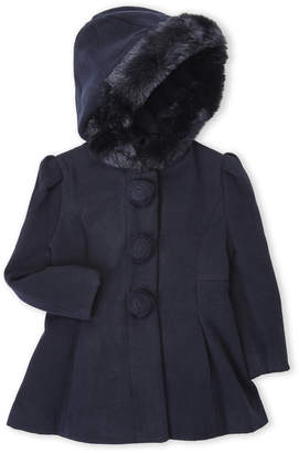 Rothschild (Toddler Girls) Faux Fur Trim Hooded Coat