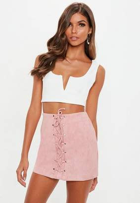 Missguided Petite Nude Faux Suede Lace Up Front Mini Skirt