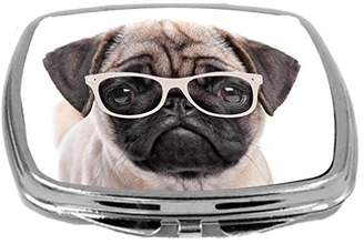 Rikki Knight Hipster Pug Dog Puppy with Glasses Design Compact Mirror