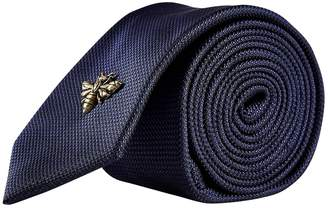 Burton Mens Navy Textured Tie with A Bee Pin
