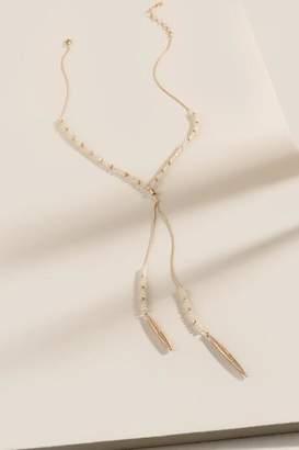 francesca's Tessa Beaded Y Necklace - Ivory
