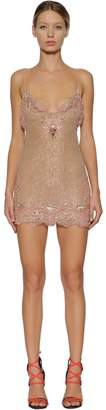 DSQUARED2 Embroidered Silk & Lace Baby Doll Dress