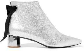 Proenza Schouler Suede-trimmed Metallic Textured-leather Ankle Boots