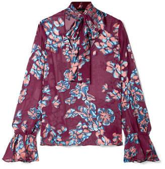 Saloni Lauren Pussy-bow Floral-print Devoré-chiffon Blouse