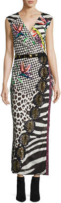 Marc Jacobs Sequined Mixed-Print Wrap Dress, Black/Multi