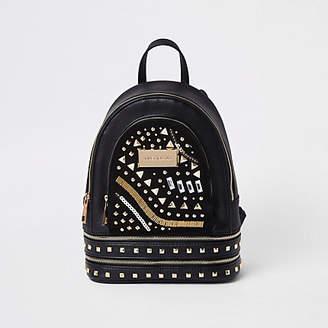 River Island Black mini faux leather backpack