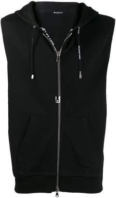 Balmain sleeveless zipped hoodie