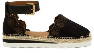 See by Chloe Flower Laser Cut Suede Espadrilles - Womens - Black