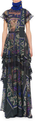 Sacai Cap-Sleeve Printed Sheer Tiered Long Dress