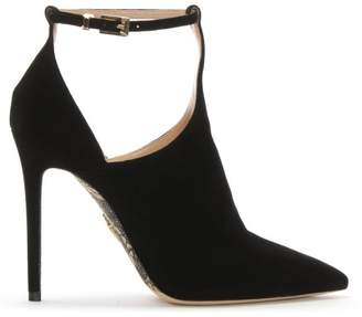 Cesare Paciotti Black Suede T Bar Heeled Shoes