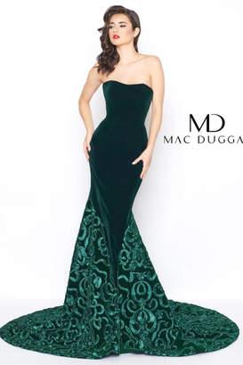 Mac Duggal Green Velvet Gown