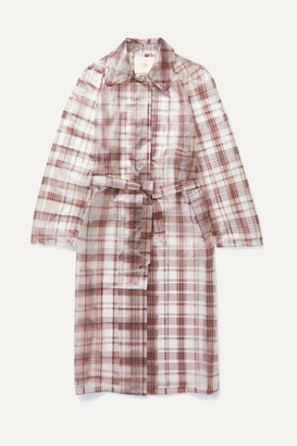 Maje Belted Checked Rubberized Pu Trench Coat - Gray