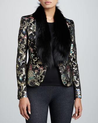Jason Wu Brocade Jacket with Fox Fur Collar