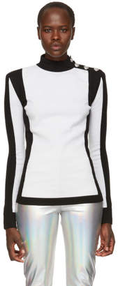 Balmain White and Black Colorblocked Sweater