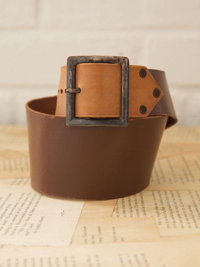 Vintage Wide Plain Leather Belt