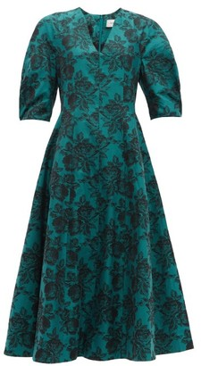 Erdem Cressida Rose Jacquard Cotton Dress - Womens - Green Multi