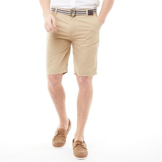 Kangaroo Poo Mens Cotton Shorts With Belt Stone