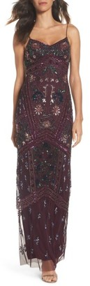 Women's Adrianna Papell Floral Beaded Column Gown $349 thestylecure.com