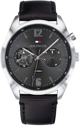 Tommy Hilfiger Multifunction Grey Dial Black Leather Watch