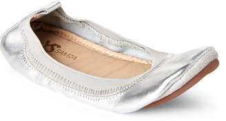 Yosi Samra Kids Girls) Silver Sammie Leather Ballet Flats