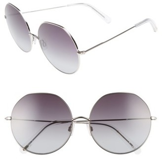 Women's D'Blanc Sonic Boom 62Mm Gradient Round Sunglasses - Palladium/ Gradient $170 thestylecure.com
