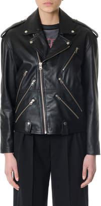 McQ Zipped Black Leather Biker Jacket