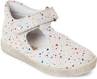 Falcotto (Toddler Girls) White Rainbow Dot T-Strap Shoes