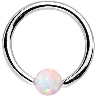 Body Candy Stainless Steel 3mm Synthetic Opal BCR Captive Ring 16 Gauge 5/16""