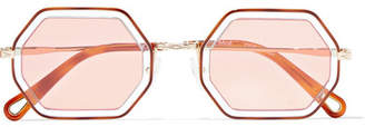 Chloé Octagon-frame Gold-tone And Acetate Sunglasses - Tortoiseshell