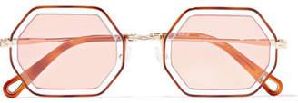 Chloé Octagon-frame Gold-tone And Acetate Sunglasses - Tortoiseshell
