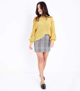 New Look Petite Black Check Mini Skirt