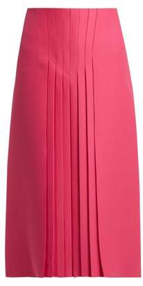 Valentino Pleated Silk And Wool Blend Skirt - Womens - Pink