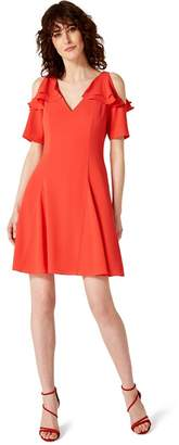 Damsel in a Dress Red Juna Ruffle Cold Shoulder Dress