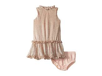 Kate Spade Kids Metallic Ruffle Dress (Infant)