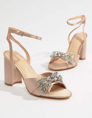 Aldo Embellished Blush Block Heeled Sandals