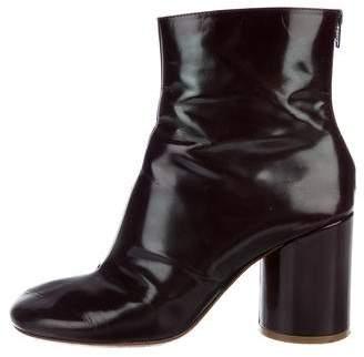 Maison Margiela Patent Leather Round-Toe Booties
