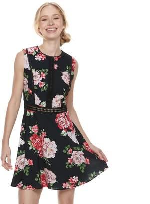 Disney Princess Juniors' Floral Illusion Skater Dress