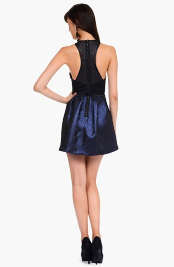 Phoebe by Kay Unger Illusion Back Jacquard Fit & Flare Dress