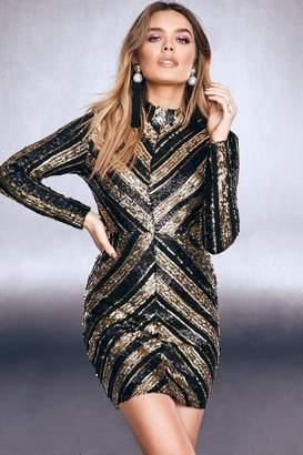 boohoo High Neck Sequin Bodycon Dress