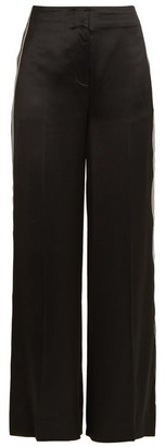 Diane von Furstenberg Ribbon Wide Leg Satin Trousers - Womens - Black
