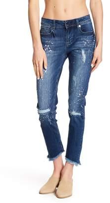 Seven7 Sequin Splatter Fray Hem Ankle Skinny Jeans